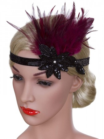 1920s Red Feather Vintage Bridal Great Gatsby Flapper Headpiece