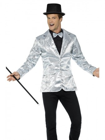 Mens Tuxedo Suit Silver Sequin Jacket Charleston 40s Dance Coats Blazers Costume