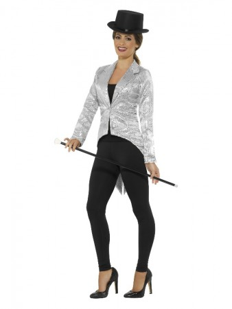 Sequin Tailcoat Jacket Ladies Silver