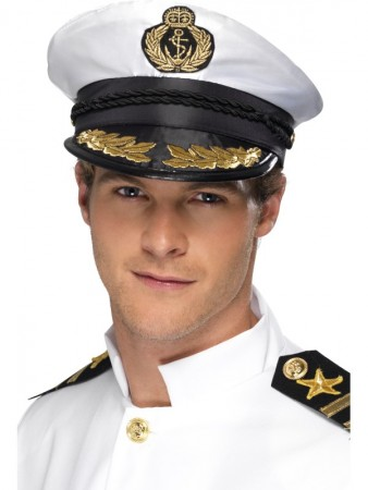 White Sea Sailor Boating Yacht Nautica Captain Cap Hat Navy Skipper
