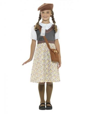 Girls War Time 40s WW2 School Girl Evacuee Fancy Dress Costume