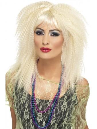 Blonde 80's Crimp Costume Wig Fringed Wild Rock Disco Diva