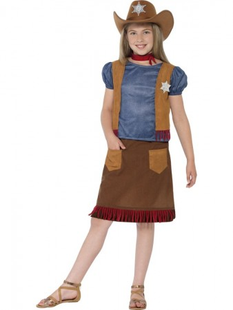 Girls Kids Western Belle Cowgirl Costume Sheriff American Wild West Outfit