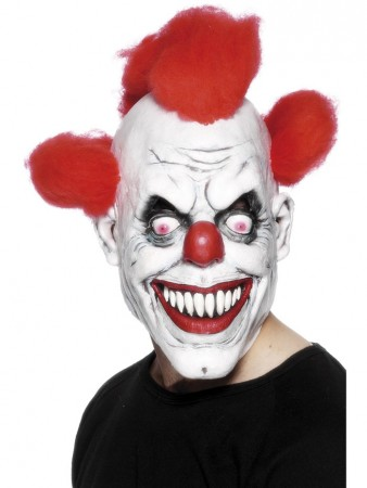 Accessories - Scary Clown 3/4 Mask With Hair Horror Circus Halloween Costume Accessory