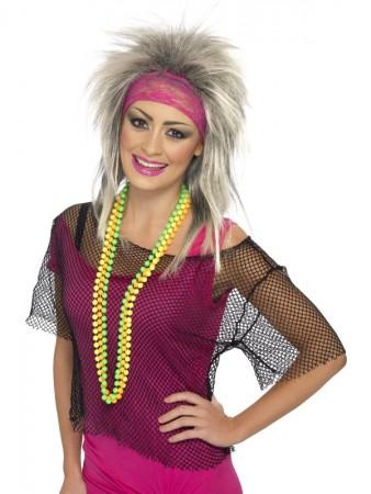 80s Black String Vest Mash Top Net Neon Punk Rocker Fishnet Rockstar Dance