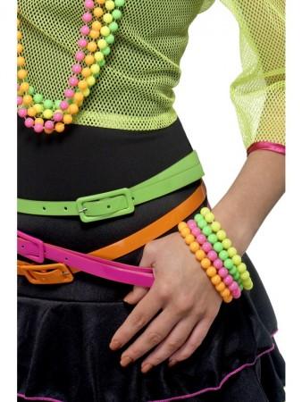 Beaded Bracelets Ladies Neon Assorted 80s Disco Fancy Dress Costume Accessory