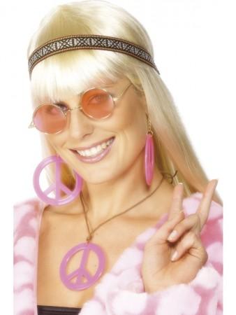 Ladies 1960s Hippie Kit 70s 60s Peace Medallion Earrings Round Glasses