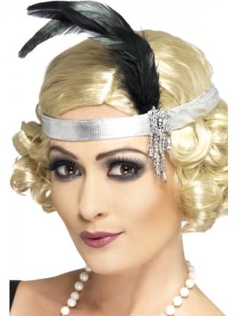 1920s Silver Satin Flapper Charleston headband