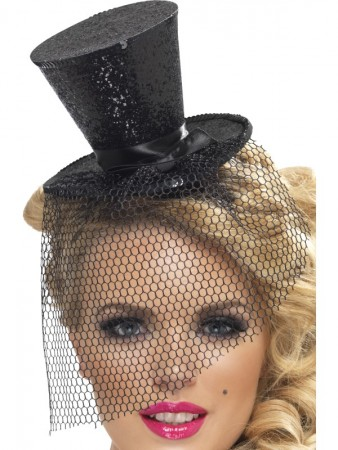 Ladies Fever Black Mini Top Hat on Headband