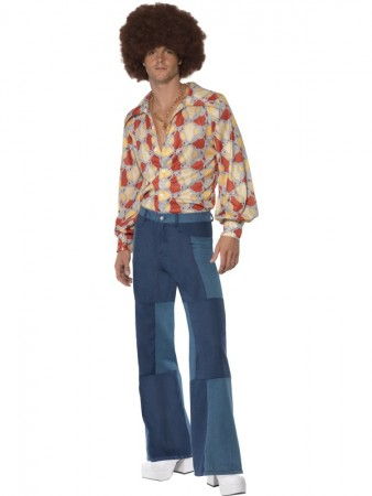 Mens 70s Flares Patchwork Denim Trousers Disco Dancer Pants Costume