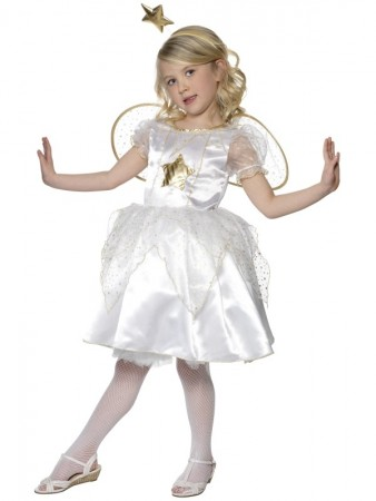 Girls Kids Star Fairy Costume White Nativity Xmas Christmas School Outfit With Wings