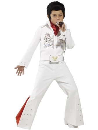 Kids Elvis Presley Jumpsuit Costume 50's Rock Star Famous Music Singer Fancy Dress