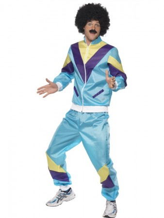 Mens 80s Height Fashion Scouser Tracksuit Shell Suit Costume