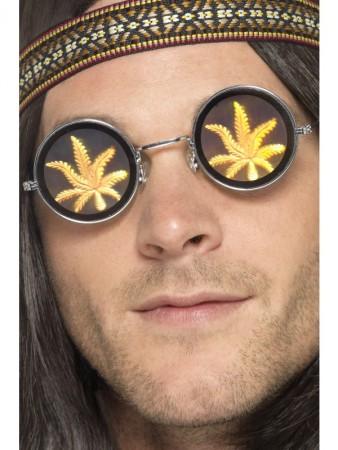 Adult Holographic Marijuana Glasses 1960s Groovy Hippie 70s Costume Accessories