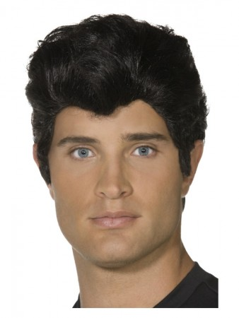 Black Danny Grease 50s Rocker Rock and Rol T-Bird Mens Greaser Costume Wig