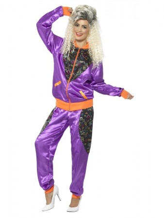 80s Height Of Fashion Purple Shell Suit Tracksuit Ladies Costume