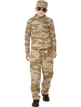 Kids Desert Army Officer Costume Soldier Military Commando Fancy Dress