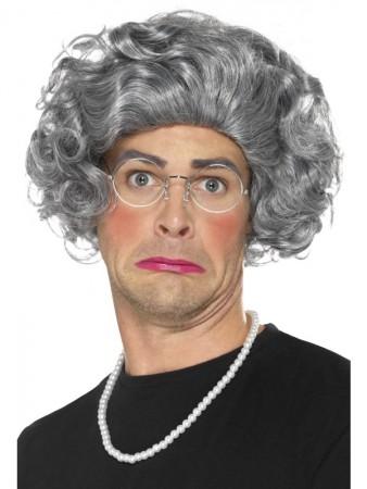 Granny Old Lady Grandma Grey Hair Wig Pearls Glasses Costume Kit