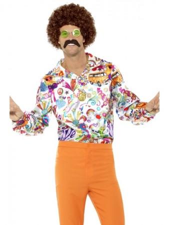 Mens Groovy Shirt Multicolour 1960s 1970s Hippie Retro Disco Costume Top