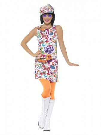 Ladies 60s Hippie Chick Disco 1970s Retro Groovy Go Go Dance Party Dress Costume