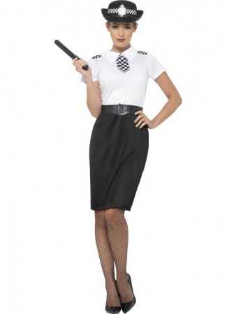 British Police Traditional Officer Lady Uniform Cops & Robbers Woman Dress Costume Hat Outfit