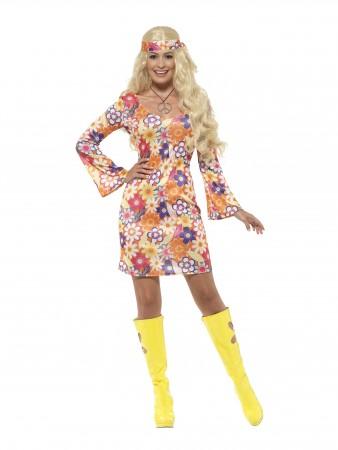 Ladies Flower Girl 60s 70s Go Go Retro Hippie Groovy Hippy Disco Costume