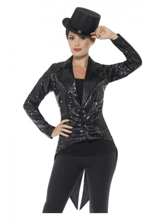 Sequin Tailcoat Jacket Ladies Black
