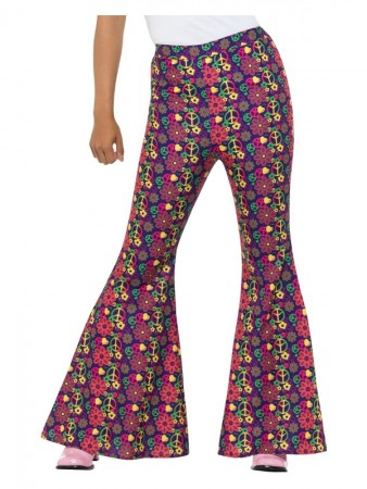 60s Psychedelic CND Flared Trousers Ladies