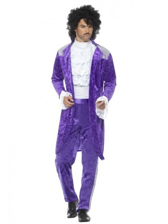 Mens Adult 80s 1980s Purple Musician Singer Prince Pop Star Fancy Dress Costume