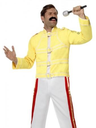 Mens Freddie Mercury Costume Adult 80s Queen Fancy Dress Freddy Rock Star Outfit