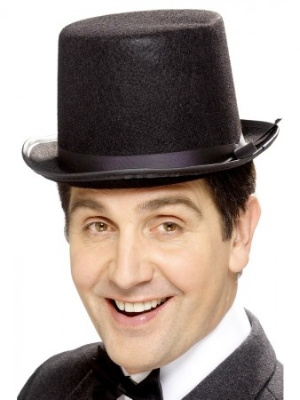Black Tall Top Hat Adult Mens Unisex Velour Topper Victorian Costume Accessory