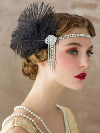 1920s Vintage Black Headband Feather Flapper Headpiece