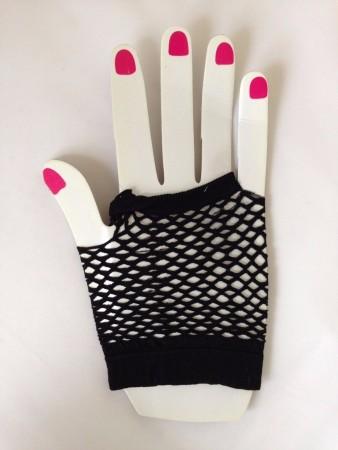 Black Fishnet Gloves Fingerless Wrist Length 70s 80s Women's Neon Party Dance