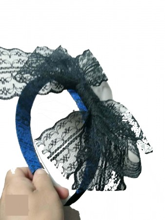 80's Party Lace Headband with Bow 80s Headbands