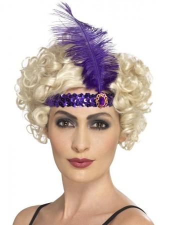 Purple 1920s Headband Feather Gatsby Flapper Headpiece