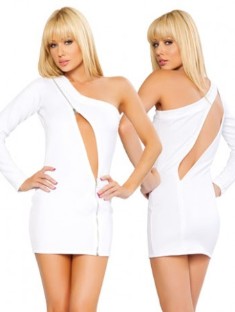 White One Sleeve Dress With Zipper Cutout