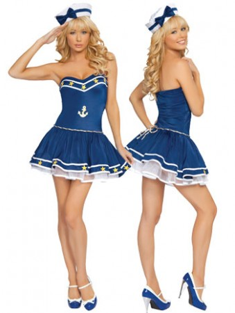 Sailor Costumes - Sailor Pin Up Fancy Dress Costume & Hat