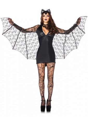 Devil Costumes - Ladies Devil Sexy Bat Woman Super Hero Halloween Horror Fancy Dress Costume