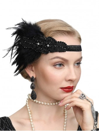 1920s BlackFeather Vintage Great Gatsby Flapper Headpiece