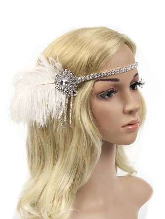 1920s White Feather Vintage Great Gatsby Flapper Headpiece