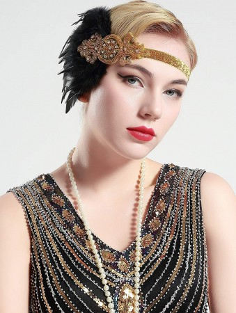 1920s Black Feather Great Gatsby Flapper Headpiece