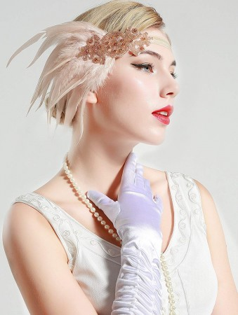 1920s Headband Apricot Feather Vintage Bridal Great Gatsby Flapper Headpiece gangster ladies