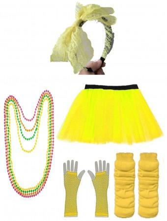 Yellow Coobey Ladies 80s Tutu Skirt Fishnet Gloves Leg Warmers Necklace Dancing Costume Accessory Set tt1074-6tt1059-2lx3006-6tt1017tt1048-7