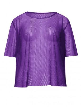 Purple Neon Fishnet Vest Top T-Shirt 1980s Costume