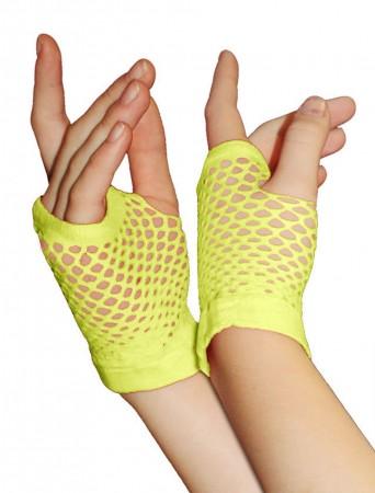 Yellow Fishnet Gloves Fingerless Wrist Length 70s 80s Women's Neon Accessories