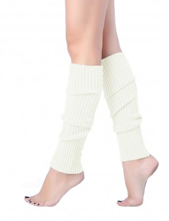 White Womens Pair of Party Legwarmers Knitted Dance 80s Costume Leg Warmers
