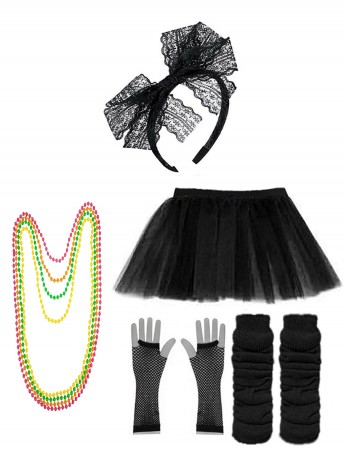 Black Coobey Ladies 80s Tutu Skirt and Accessory Set tt1074-1tt1059-9lx3006-1tt1017tt1048-4