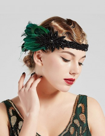 1920s Headband Feather Great Gatsby Headpiece