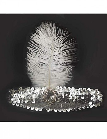 Silver 1920s Feather Great Gatsby Flapper Headband