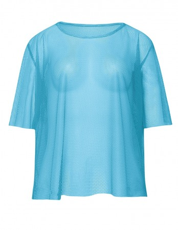 Blue Neon Fishnet Vest Top T-Shirt 1980s Costume